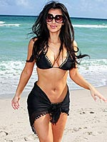 Kim Kardashian showing her big breasts in little bikini