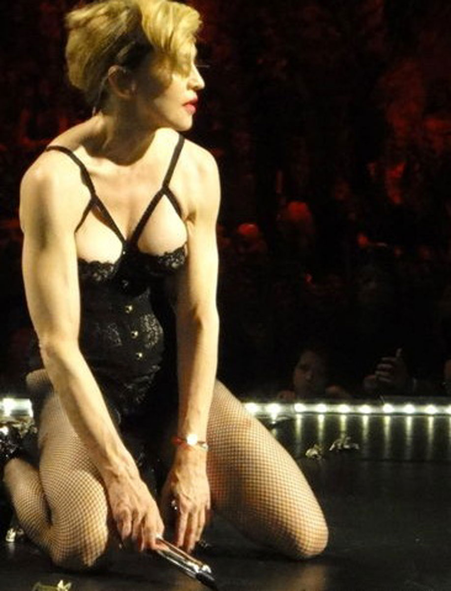 on stage topless Madonna
