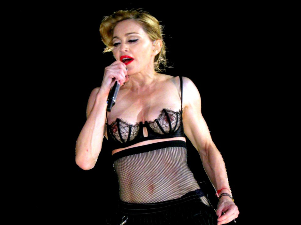 Madonna topless on stage