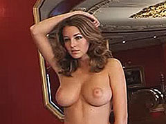 Keeley Hazell sheds her bra to reveal nice tits