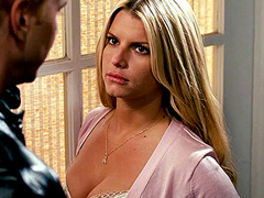 Jessica Simpson cleavage in low cut dress