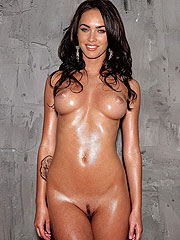 Megan Fox fully naked and exposing shaved pussy
