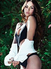 Megan Fox short dress and slick-back hair