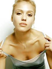 Jessica Alba sexy poking nipples
