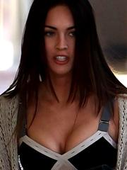 Megan Fox busting out her big cleavage
