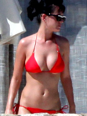 Katy Perry ass cleavage in hot red bikini