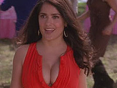 Salma Hayek showing great cleavage in movie
