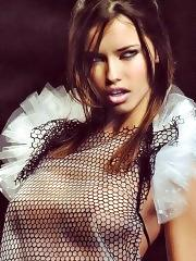 Adriana Lima posing sexy and topless