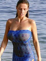 Katie Price showing her big boobs in wet bikini