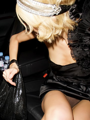 Paris Hilton flashes see thru panties