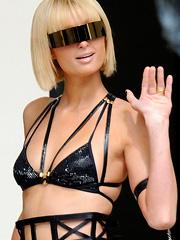 Paris Hilton in futuristic bikini outfit