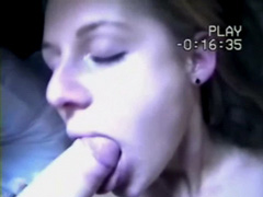 Abi Titmuss uses her pretty mouth to suck a dick