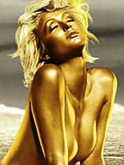 Paris Hilton bikini and nude in gold