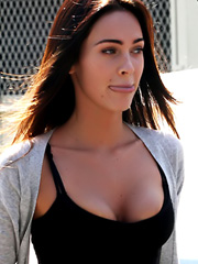 Megan Fox shows great cleavage in public