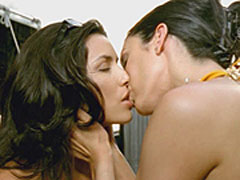 Eva Longoria wearing a bikini and lesbian kiss