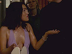 Megan Fox nice cleavage while she is in wet dress