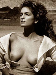 Cindy Crawford naked topless on the beach