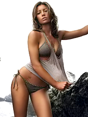 Jessica Biel in sexy bikni on the beach