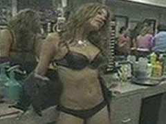 Stacy Ferguson strip bra and cover tits with hands