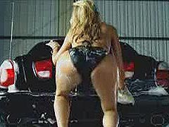 Paris Hilton washing the car in very sexy lingerie