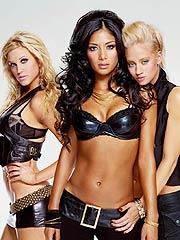 Nicole Scherzinger wearing sexy black latex bra