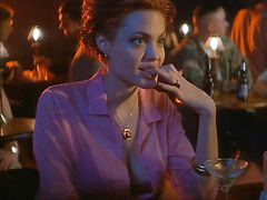 Angelina Jolie cleavage in early hot scene