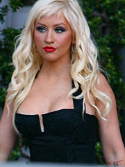 Christina Aguilera showing her boobs in lingerie