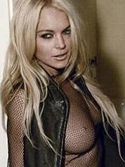 Lindsay Lohan showing perky see thru tits