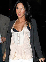 Megan Fox seen perky cleavage in sexy dress