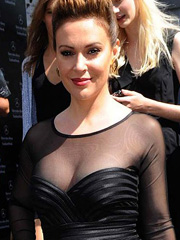 Alyssa Milano busts see through cleavage