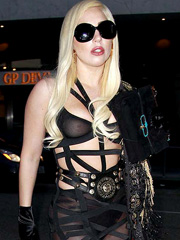 Lady Gaga see through bra and nipple slip