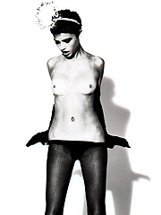 Adriana Lima in black lingerie and exposing tits