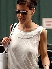 Alyssa Milano lovely big juggs through shirt