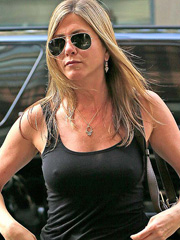 Jennifer Aniston braless in see through top