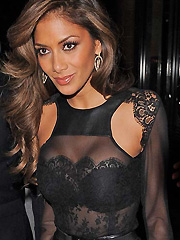 Nicole Scherzinger bra in see through top