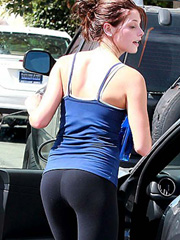 Ashley Greene ass in spandex and cleavage