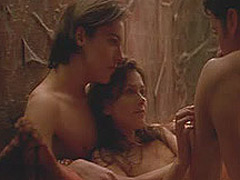 Anna Friel completely nude in bed with two guys