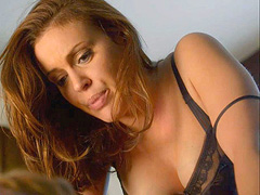 Alyssa Milano busty while making out with a guy