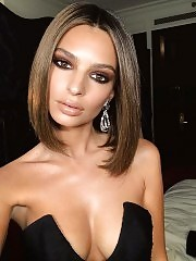 Emily Ratajkowski showed deep cleavage plus topless pic