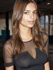 Emily Ratajkowski nipples in see through top
