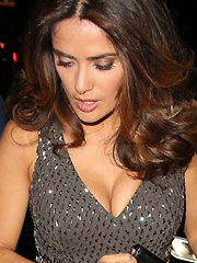 Salma Hayek puts her huge cleavage on display