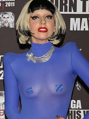 Lady Gaga oops see thru to nipple pasties