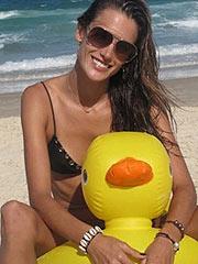 Alessandra Ambrosio modeling in sexy bikini
