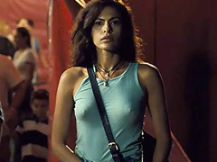 Eva Mendes nipples poking through tank top