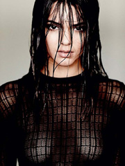 Kendall Jenner nipples in see through top