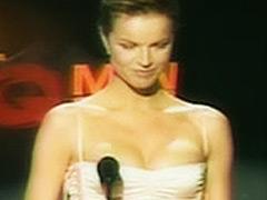 Eva Herzigova huge breasts in elegant dress