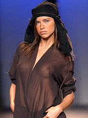 Adriana Lima in sexy see through black lingerie