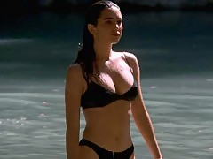 Jennifer Connelly busty in a black bikini