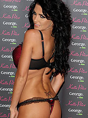 Katie Price topless and sexy in red lingerie