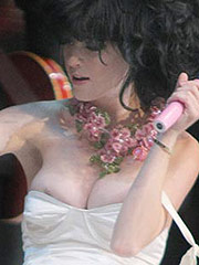 Katy Perry boob slipping out while performing